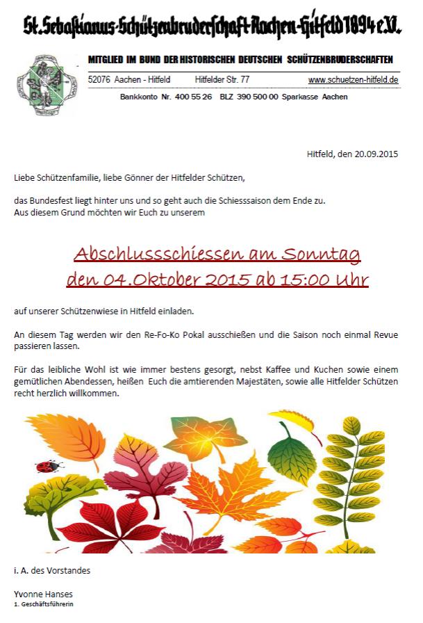 Einladung Schlussschießen 2015